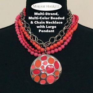 Multi~Strand Multi~Color Beaded & Chain Necklace